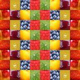 Background fruits collage background. Lots of fruits in cube colorful background Stock Photo