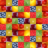 Background fruits collage background. Lots of fruits in cube colorful background Royalty Free Stock Photography
