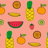 Background With Fruits Pattern. Hand Drawn Vector Illustration.n Royalty Free Stock Photos