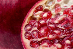 Background of fruits of red fresh pomegranate, close up Stock Photo