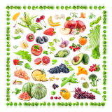 Background of fruits and vegetables stock image