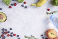 Background with fruits and vegetables Stock Images