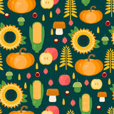 Background with fruits, vegetables, mushrooms and nuts Stock Photography