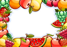 Background with fruits. White background with colorful shiny fruits Stock Photos
