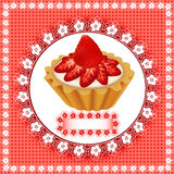 Background with a fruity dessert cake with strawbe Royalty Free Stock Images