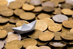 Background full of Euro cents, copper coin. One and two cents coin will be dismissed Stock Photography