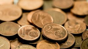 Background full of Euro cents, copper coin. One and two cents coin will be dismissed Royalty Free Stock Photography