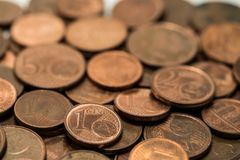 Background full of Euro cents, copper coin. One and two cents coin will be dismissed Stock Image