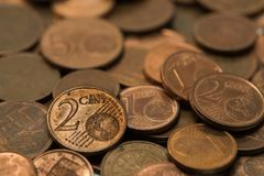 Background full of Euro cents, copper coin. One and two cents coin will be dismissed Stock Photo