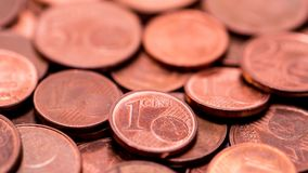 Background full of Euro cents, copper coin. One and two cents coin will be dismissed Royalty Free Stock Image