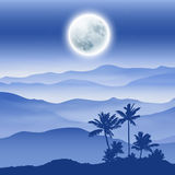 Background with fullmoon, palm tree and mountains in the fog Royalty Free Stock Photo