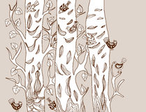 Background with funny birds and tree. Cute hand drawn illustration stock illustration