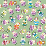 Background with funny dolls. Colored royalty free illustration