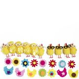 The background with funny figures of chickens and flowers from felt. Easter card Royalty Free Stock Photos