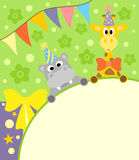 Background  with funny hippopotamus and giraffe Royalty Free Stock Photography