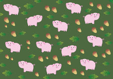 Background with funny pigs and acorn. Dark green background with funny pigs and acorn Royalty Free Stock Image