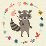 Background with funny raccoon flower and birds Royalty Free Stock Photos