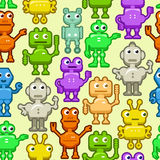 Background with funny robots. Seamless pattern with funny robots royalty free illustration