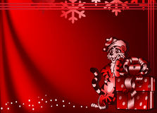Background with funny tiger and a gift box. Royalty Free Stock Photos