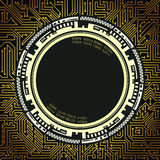 Background of futuristic technology in black, golden and white shades Stock Photo