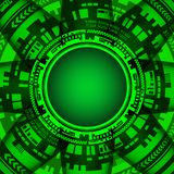Background of futuristic technology in green shades Stock Photography