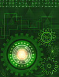 Background of futuristic technology in green shades Stock Image