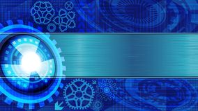 Background of futuristic technology with metallic plate for text. Abstract background of futuristic technology with gears and metallic plate for text in blue Royalty Free Stock Photography