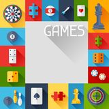 Background with game icons in flat design style Royalty Free Stock Photo