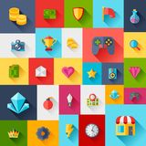 Background with game icons in flat design style Stock Photos
