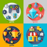 Background with game icons in flat design style Royalty Free Stock Photos