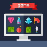 Background with game icons in flat design style Stock Photo