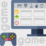 Background with game icons in flat design style Stock Image