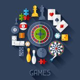 Background with game icons in flat design style Royalty Free Stock Photography