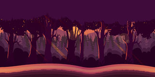 Background for games apps or mobile development. Cartoon nature landscape with forest. Stock Photo