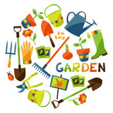 Background with garden design elements and icons Stock Image