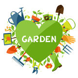 Background with garden design elements and icons Stock Images