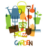 Background with garden design elements and icons Royalty Free Stock Image