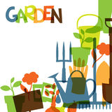 Background with garden design elements and icons Royalty Free Stock Images