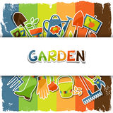 Background with garden sticker design elements and Royalty Free Stock Photography