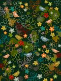 Background garden vector. Background garden textile vector dark flowers and bird Stock Illustration