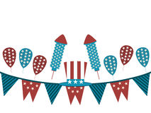 Background with garland and fireworks. Uncle Sam hat and garland on a white background, holiday items. Vector illustration Stock Photography