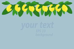 Background. A garland of yellow lemons and green leaves at the top on light blue Royalty Free Stock Photo