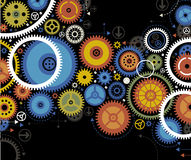Background gears with arrow Stock Photo