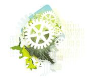 Background with gears & binary Stock Images