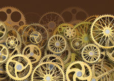 Background of gears and cogs. mechanism concept, 3d, illustration. Gear mechanism, industry background concept for design, 3d, illustration Royalty Free Stock Photos