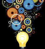 Background gears with lamp Stock Photography