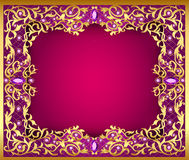Background with  gems and gold ornaments Stock Images