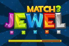 Background GEMS Match3 Games. Set Multicolored precious icons and loading game, GUI Graphic Assets. Vector background GEMS Match3 Games. Set Multicolored stock illustration