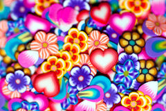 Background gentle flowers, petals and hearts Stock Photography