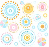 Background, geometric, circles, blue, pink, yellow, seamless, kids, white, abstraction. Royalty Free Stock Images